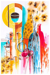 Coloured Bottles  Watercolou