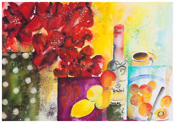 ''Wine & Fruit'' Watercolour
