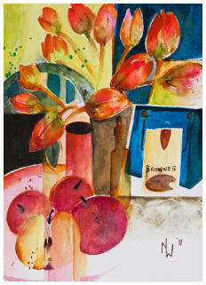 Tulips Rouge Watercolour