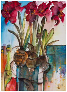 Amaryllis Impromptu Watercolour